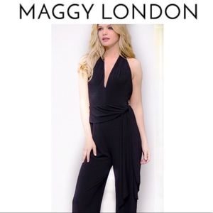 MAGGY LONDON Black Plunge Halter Jumpsuit 14
